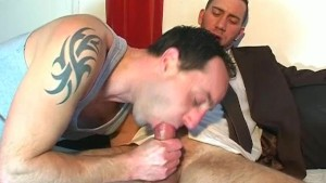 Full video: A nice innocent str8 guy serviced his big cock by a guy.