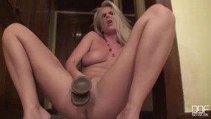 Exquisite Blonde Milf cums forever on a Monster Dildo