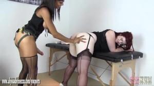 Gorgeous Busty redhead fucked hard by horny lesbian nurse Alyssa Divine big strapon cock