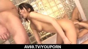 Special threesome along small tits, Reina Mizuki
