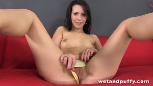 Cute brunette bitch Carrie May in a solo scene