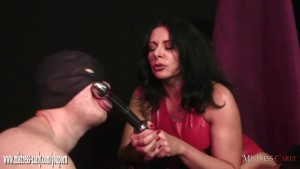 Horny mistress fucks her wet pussy with steel cock then toys slaves tight ass