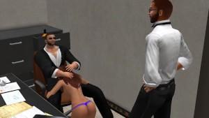 Fred Adjani qui matte des employés entrain de baiser