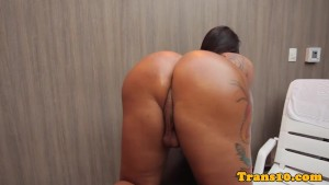 Pierced transsexual wanking her hard cock