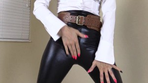 Leather and latex jacket and leggings and boots fun