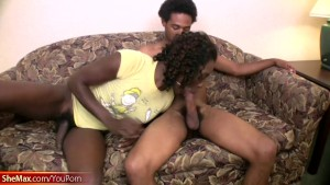 Ebony shemale gets big cock in her ass and facial cumshot