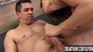 Sexy shemale fucked so good she cums