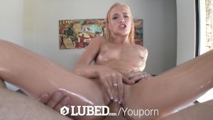 LUBED - Roller Skater girl Alex Grey chokes on lubed dick