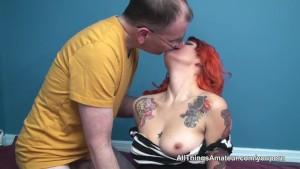 Tattooed redhead sex with older man