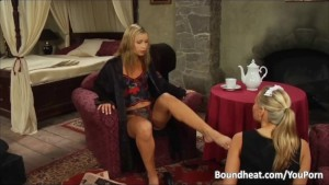 Blonde Maid Cleaning And Kissing Mistresses Feet