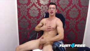 Twink With Glasses Wanks His Big Uncut Cock