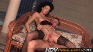 Curly hair babe fucks in hot stocking.mp4