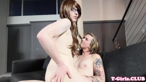 Tattooed shemale buttfucks spex transsexual