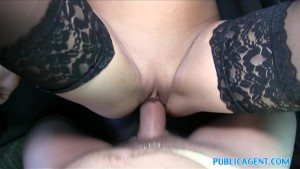 PublicAgent Sweet hot sexy ass shown off before blowjob and hard sex