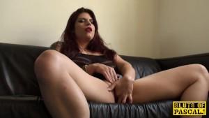 Redhead sub slut masturbating until orgasm