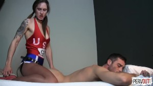 Pegging Olympic Training with Akira Shell STRAPON SHINY PANTYHOSE
