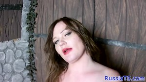 Busty russian tgirl playing with her cock