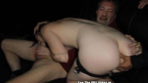 Wild Freckle Gangbang Slut Squirts Milk in Porno Theater
