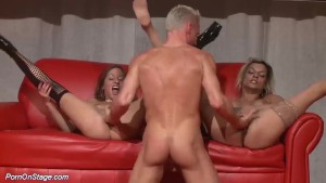 threesome fuck orgy in public