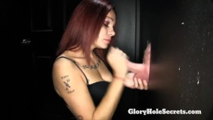 Two tattooed girls suck cocks in gloryhole