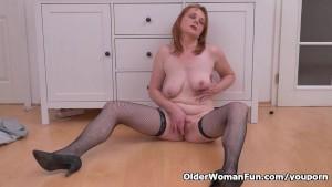 Euro milf Elisabeth strips off slowly and masturbates