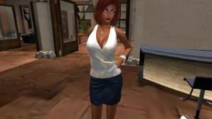 Second life - Une jolie femme virtuelle en mini jupe - virtuelsexe