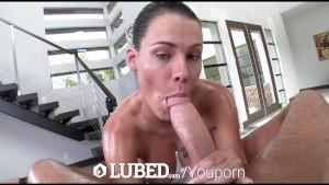 LUBED Peta Jensen s big bouncy lubed up boobs fucked