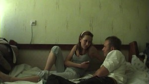 Amateur teens play an oral game