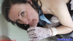 English milf sucking dick with lace gloves on