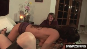 Lesbian watches her wife get fucked by a porn stud