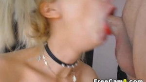Nerdy Blonde Giving a Sloppy Deepthroat