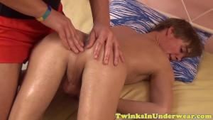 Amateur twink cumdrops after ass massage