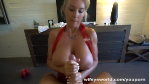Blonde Uses Her Huge Tits To Make You Cum