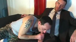 Marc innocent vendor guy serviced his big cock by a guy!