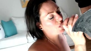 MILF giving her bull the blowjob of his LIFE