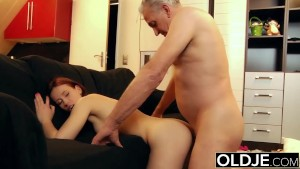 Young slut hard fucked by old