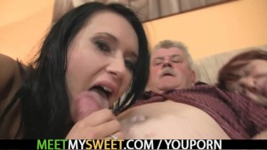 Lovely brunette sucks and rides old dick
