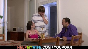 Fucking young wife on the table for money