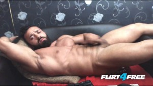 Bearded Muscular Stud Strokes His Big Rod