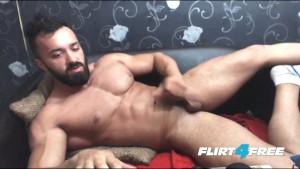 Bearded Muscular Stud Strokes His Big Rod