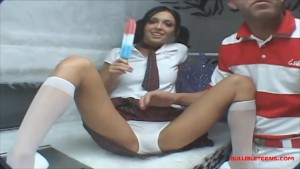 icecream truck teen in knee high white socks get long white dick creampie and eats it out of pussy