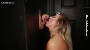Tiny Blonde Sucks random dudes off in strange gloryhole