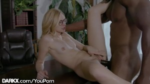 Skinny College Chick Throats Profs Huge Cock