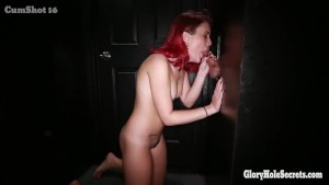 Young redheaded slut get mouth pumped with cum
