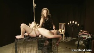 Teens In Bondage Tied To Cage, Hot Waxed and Brought To Orgasms