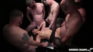 Gangbang girl gets rocked by 5 cocksmen
