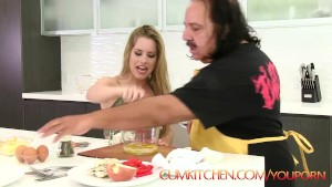 CUM KITCHEN: Ron Jeremy fucks a young blonde teen Lilly Ford while cooking