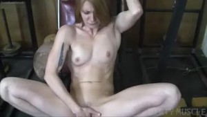 Naked Fit Redhead Cums From Fi