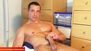 Handsome str8 delivery guy gets wanked his big cock by us !