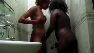 Naughty African hotties horny in shower in amateur scene